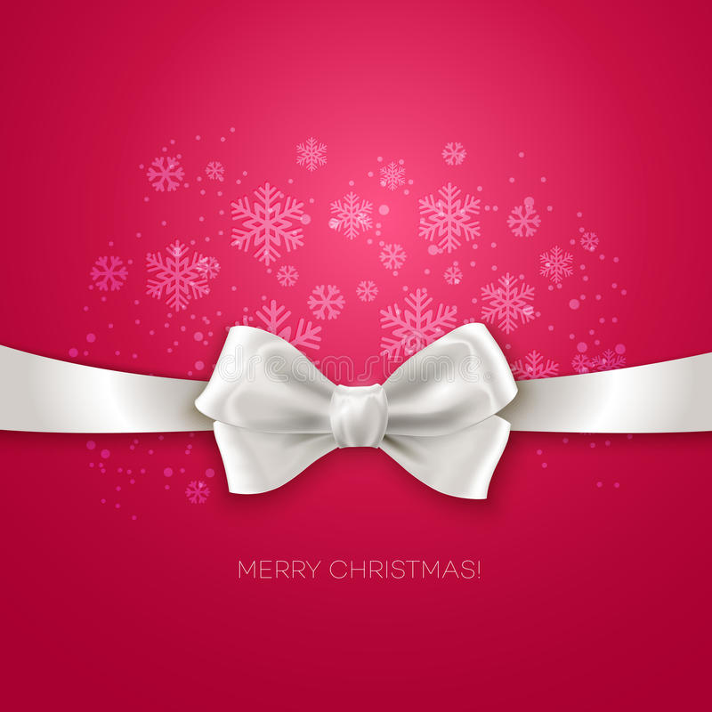 Pink Christmas background with white silk bow. Vector illustration royalty free illustration