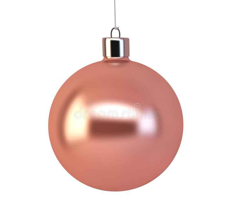 Pink christmas ball. 3d rendering isolated vector illustration