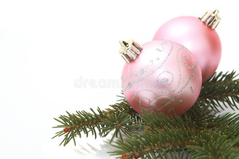 Pink christmas balls stock photo