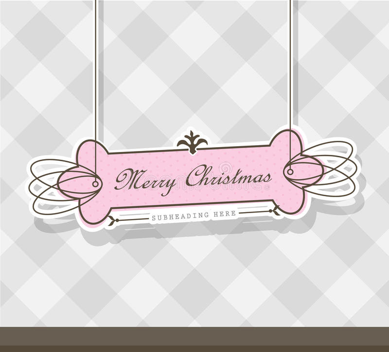 Pink Christmas Label On Gray Background. Royalty Free Stock Images