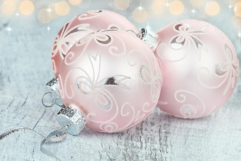 Pink Christmas Ornaments royalty free stock photos