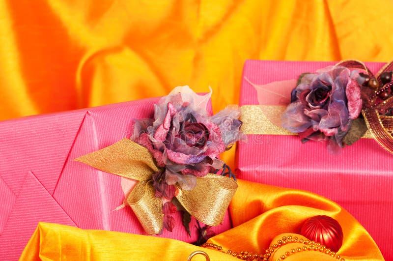 Pink Christmas presents stock photos