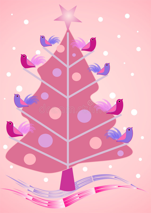 Pink Christmas tree with birdies. Illustration with a pink Christmas tree and cute little birds sitting on the brenches royalty free illustration