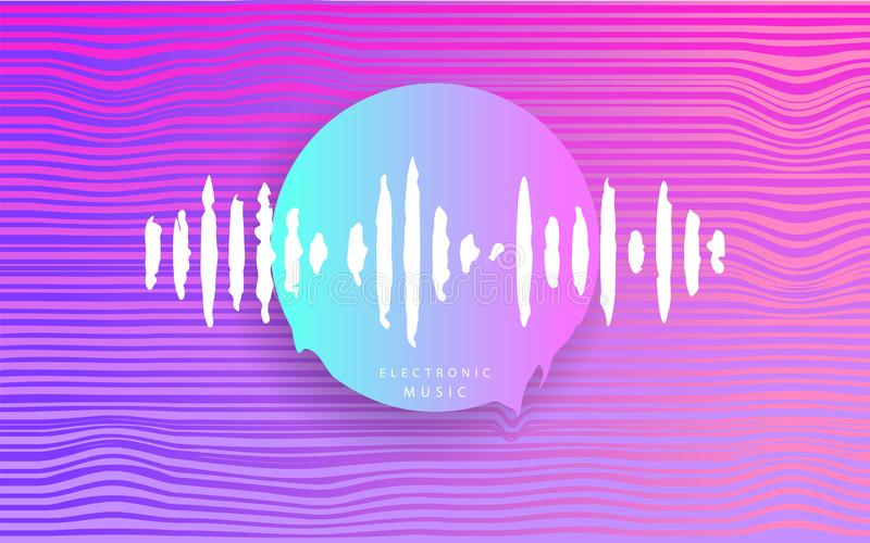 Pink Circle with music wave. Futuristic Abstract geometry. Cyberpunk. Electronic music. Deep house. Synthwave style 80s - 90s. vector illustration