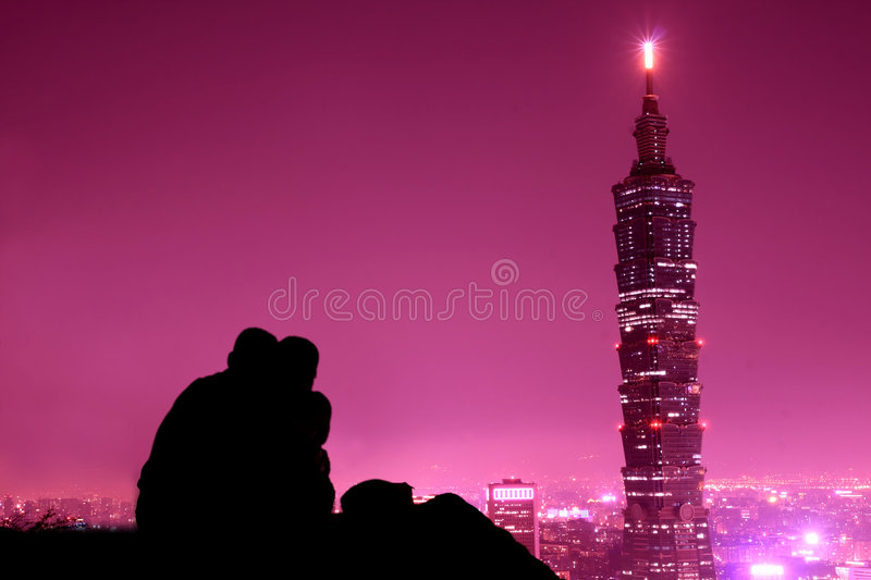 Pink city at night stock images