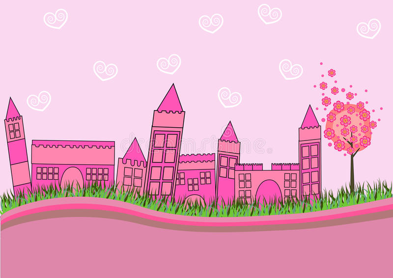Pink City. City skyline in pink vector full color royalty free illustration