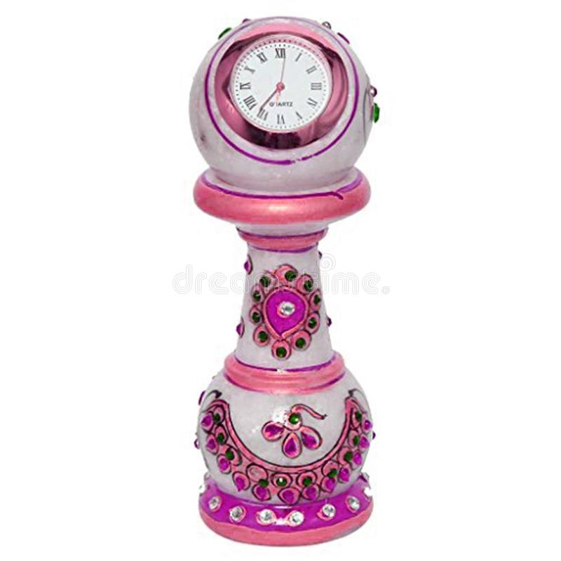 Pink clock tower watch stand royalty free illustration