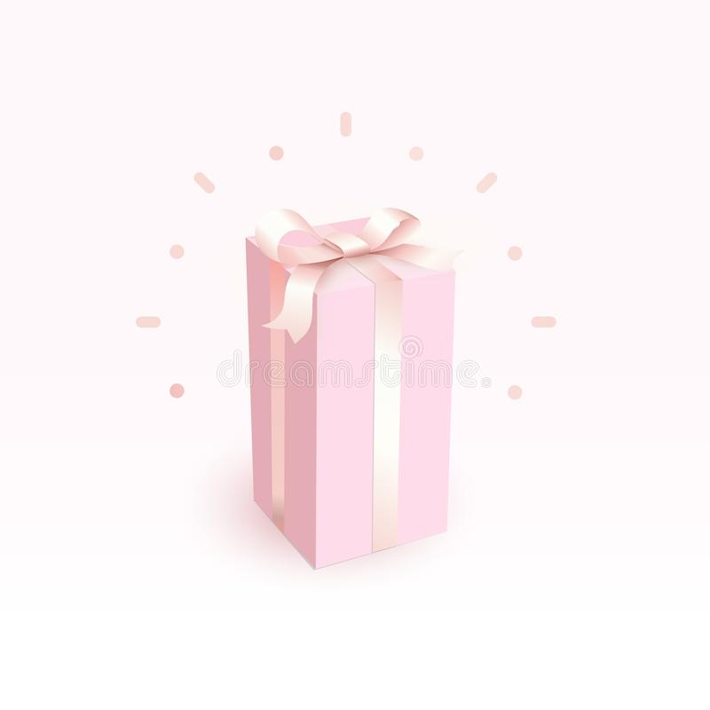 Pink closed box with tender satin ribbon. Magic and beautiful Gift box for girl, side view. Happy birthday greeting card royalty free illustration