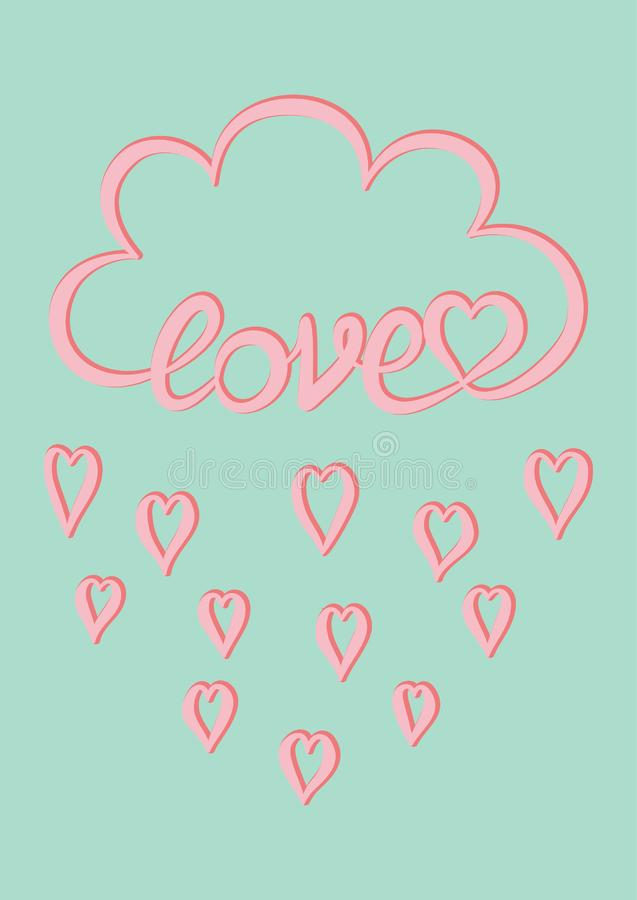 Pink cloud with hand written word Love and pink heart rain drops on mint green background, Valentine`s day card design template. Vector stock illustration