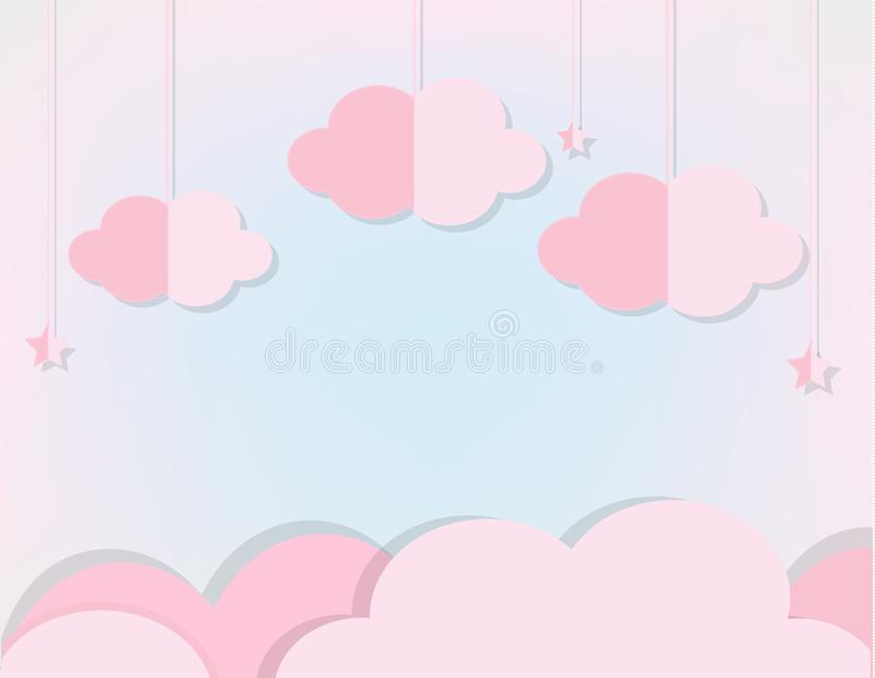 Pink Clouds and stars in soft blue sky. Background in paper cut, paper craft style for baby, kids and nursery design, invitations,. Pink Clouds and stars in soft vector illustration