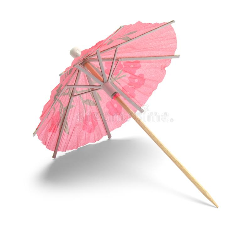 Pink Cocktail Umbrella. Pink Drink Umbrella Isolated on White Background stock photography