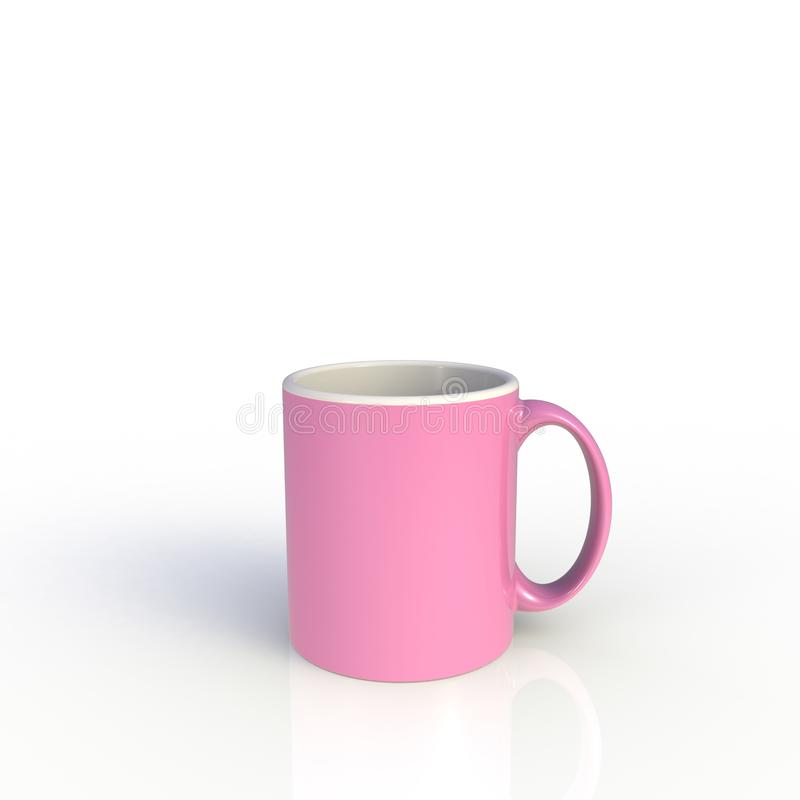 Pink coffee cup isolated on white background. Close up with side view. Mock up Template for application design. royalty free illustration