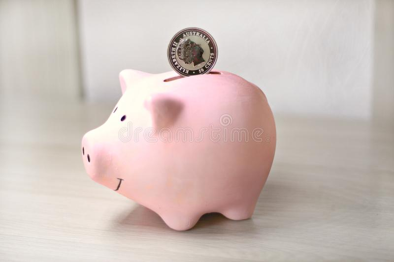 Pink coin bank on with a silver coin stock photo