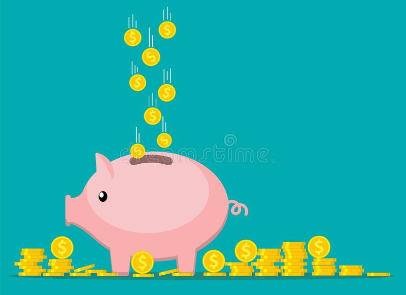 Pink coin box. vector illustration
