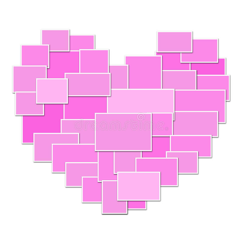 Pink collage heart isolated on white background. stock illustration