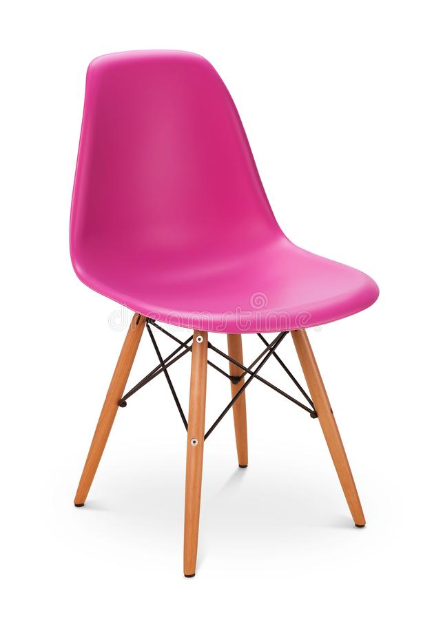 Pink color chair, modern designer, chair isolated on white background. Series of furnitureGreen color chair, modern designer. stock photos
