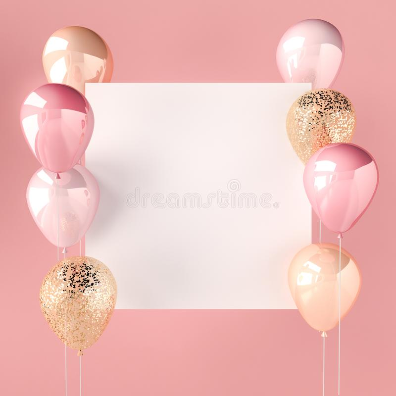 Pink color and golden balloons with sequins and white sticker. Pink background for social media. 3D render for birthday, party, we royalty free illustration