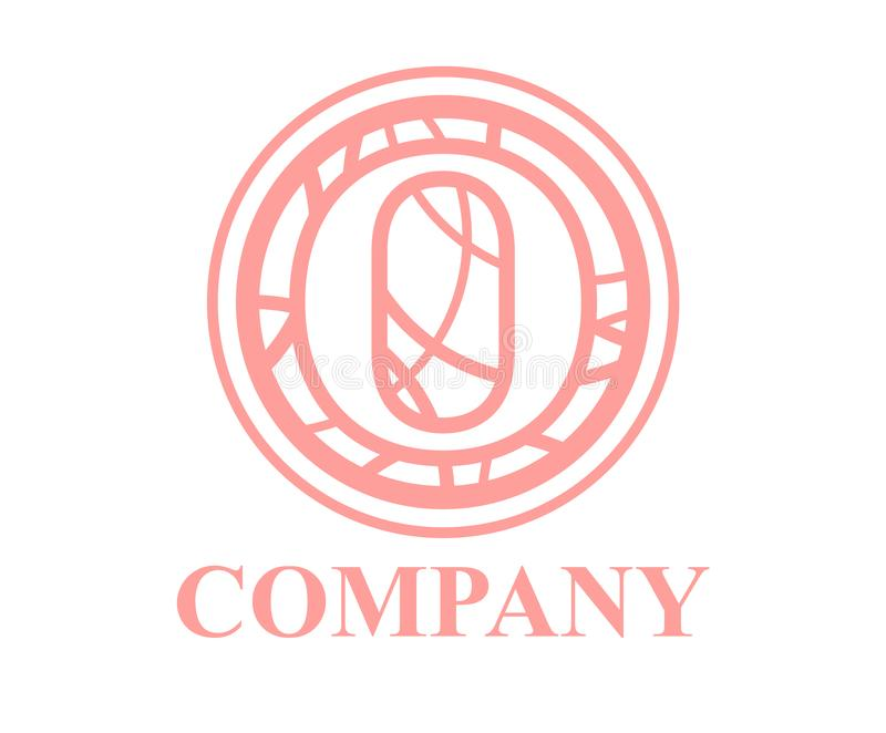 Circle curvy o. Pink color logo symbol type letter o initial business logo design idea illustration shape in circle with beautiful curvy oval line art for vector illustration