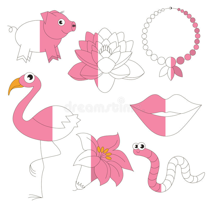 Pink Color Objects, The Big Kid Game To Be Colored By Example Half ...