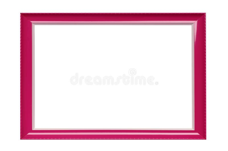 Pink color picture frame on a white background. Empty frame for painting or photo royalty free stock images