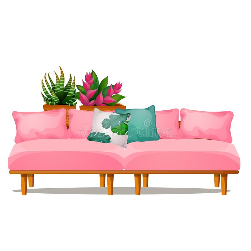 Pink color sofa with pillows and potted flowers isolated on white background. Vector cartoon close-up illustration. Pink color sofa with pillows and potted royalty free illustration