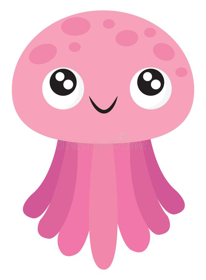 Emoji of a smiling pink jellyfish/Cartoon jellyfish, vector or color illustration. A pink-colored jellyfish with umbrella-shaped bells and trailing tentacles has stock illustration