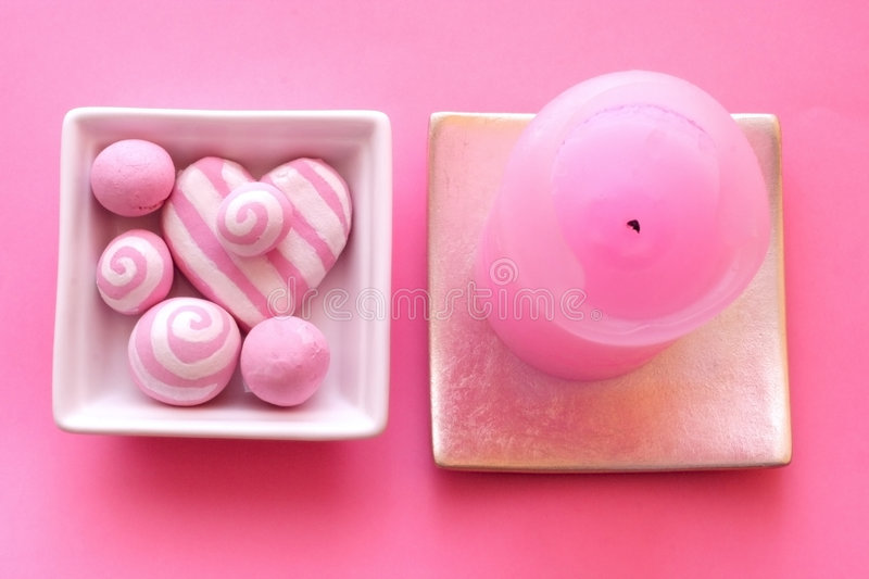 Download Pink Composition With Candle Stock Photo - Image: 1409508