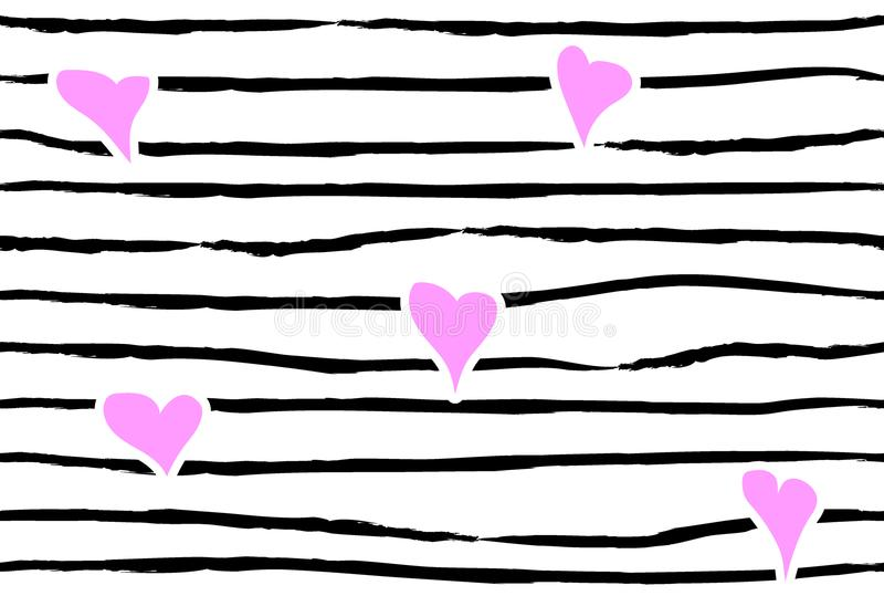 Pink confetti heart on striped background. Seamless love pattern. Hand painted black brush strokes on white. Valentines day emo vector illustration