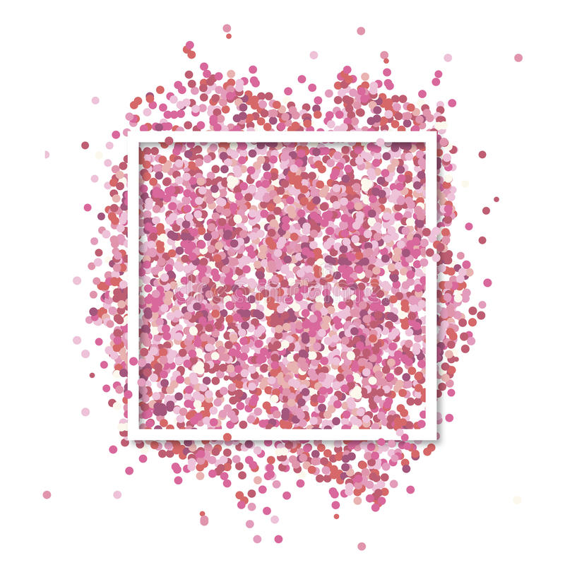 Pink confetti in in white square frame. Romantic Valentines background with text place. Pink confetti in in white square frame. Romantic Valentines background royalty free illustration