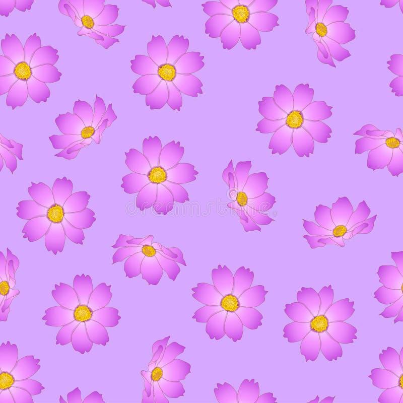 Pink Cosmos Flower on Violet Background. Vector Illustration.  stock illustration