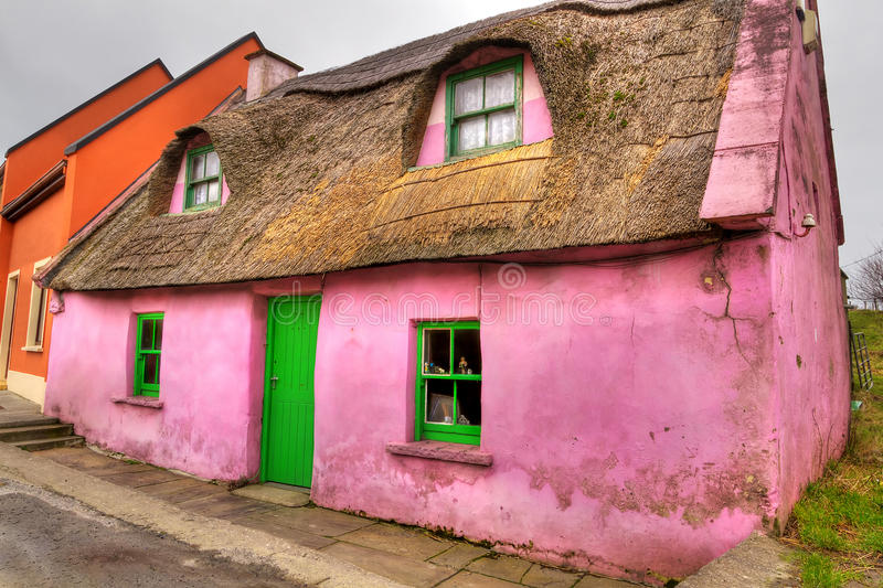 Pink cottage house in Doolin stock images