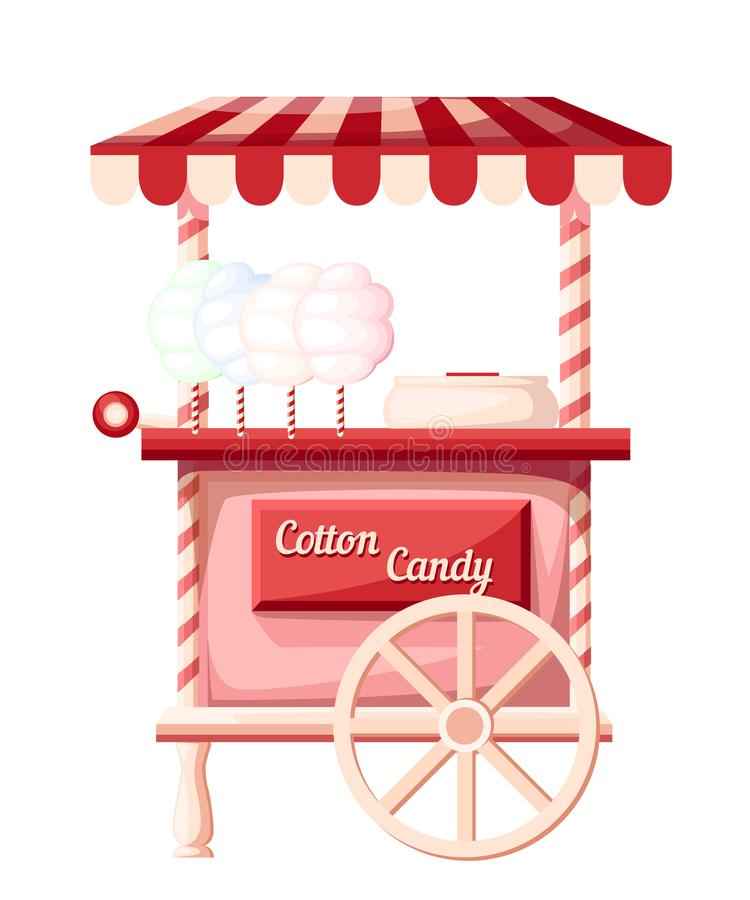 Pink cotton candy cart kiosk on wheels portable store idea for festival vector illustration isolated on white background web site. Page and mobile app design stock photography