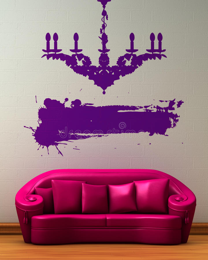 Pink couch with dummy of chandelier. And place for text in minimalist interior stock illustration