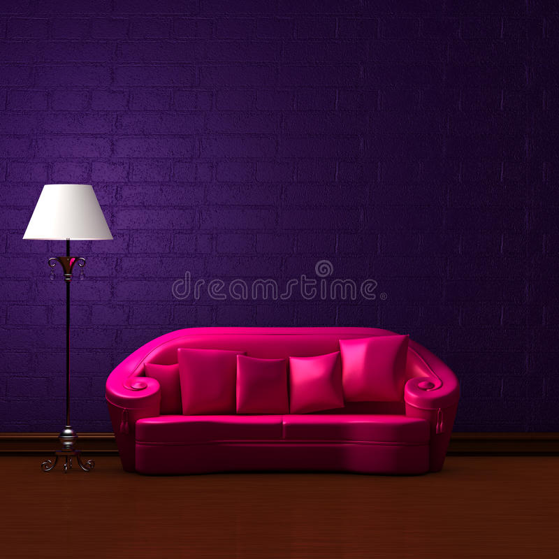 Free Pink Couch With Standard Lamp Stock Photo - 9827810