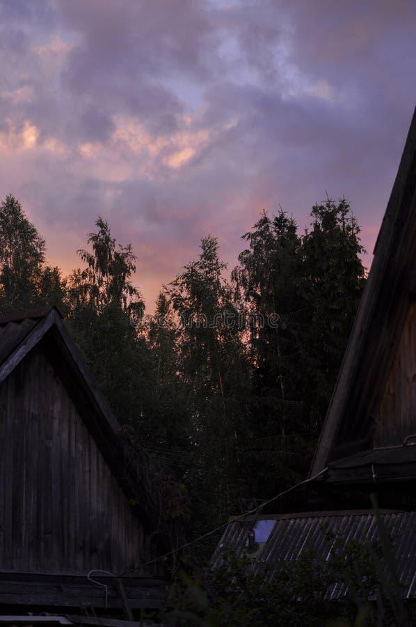 Pink countryside sunset stock photos