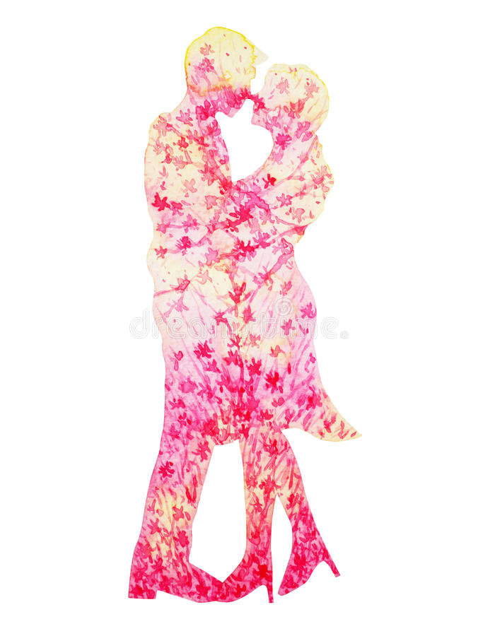 Pink couple lovers watercolor painting romantic floral flower stock illustration