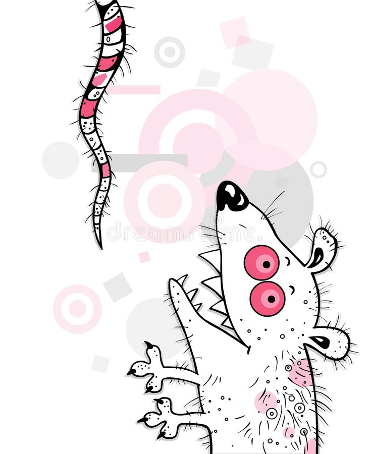 The Pink crazy mouse (rat) vector illustration