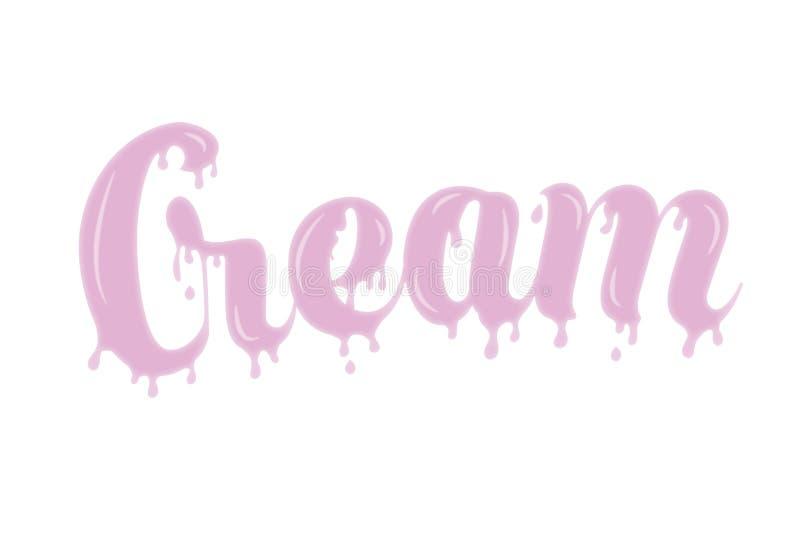 Pink cream type with melting edges royalty free illustration