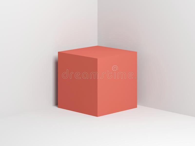 Pink cube in empty white corner 3d stock illustration