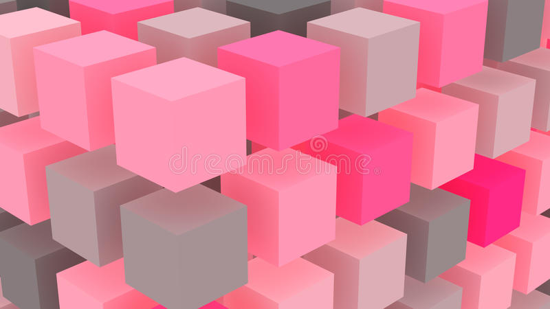 Pink cubes geometric background vector illustration