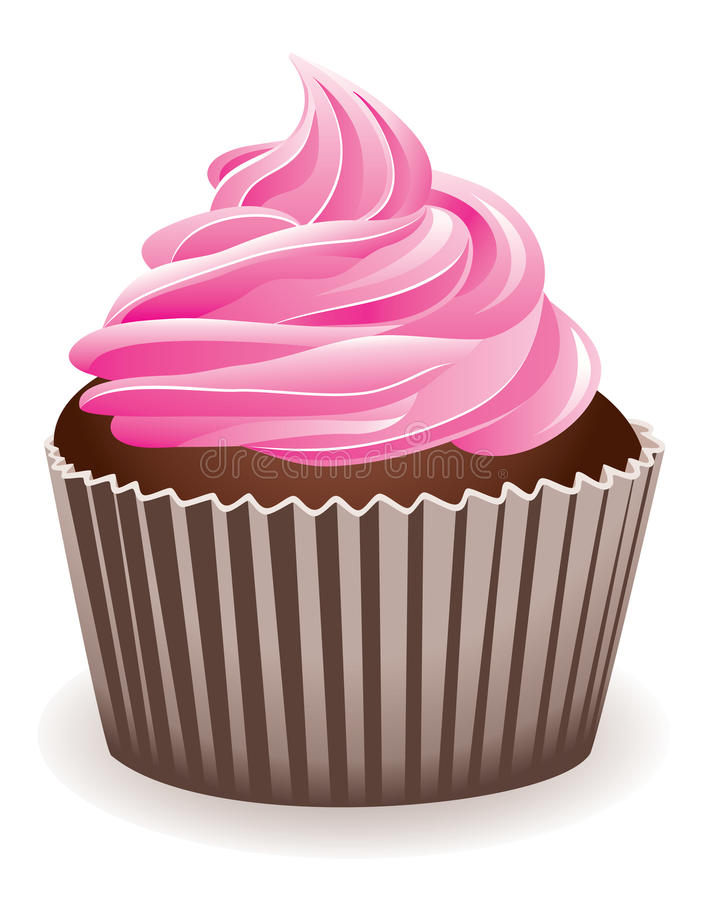 Pink cupcake vector illustration