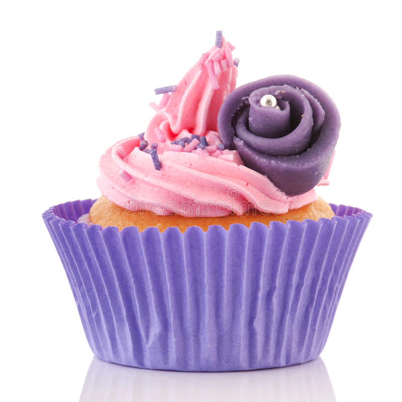 Download Pink Cupcake With Buttercream Stock Image - Image of background, pastry: 26459053