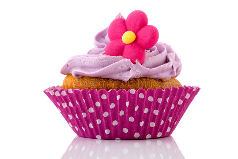 Download Pink cupcake with flower stock photo. Image of dotted - 29284142