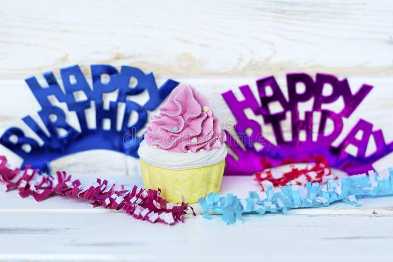 Pink Cupcake and Happy Birthday Text stock image
