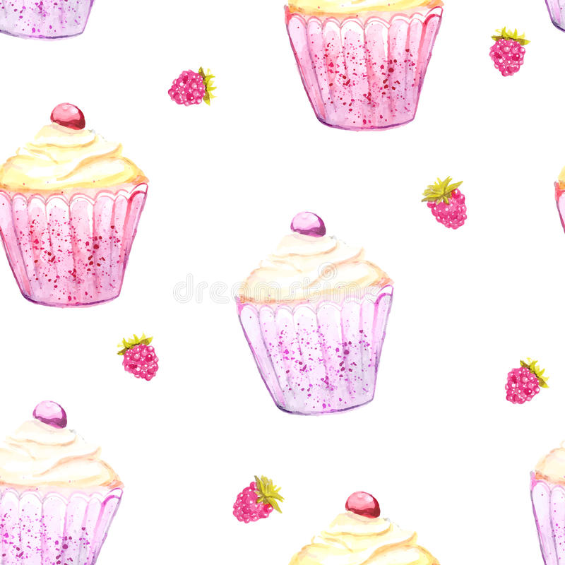 Pink cupcake and raspberry background. Seamless vector texture stock illustration