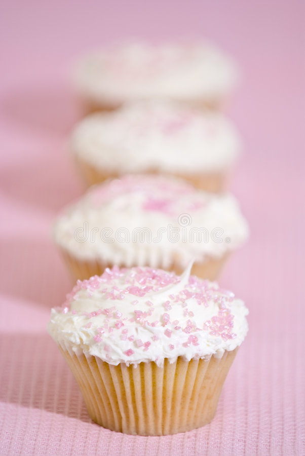 Download Pink Cupcakes stock photo. Image of cream, striped, butter - 9305452