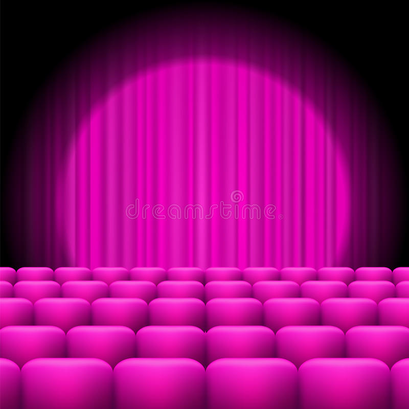 Pink Curtains with Spotlight and Seats royalty free illustration
