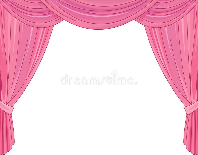 Pink Curtains. On a white background royalty free illustration
