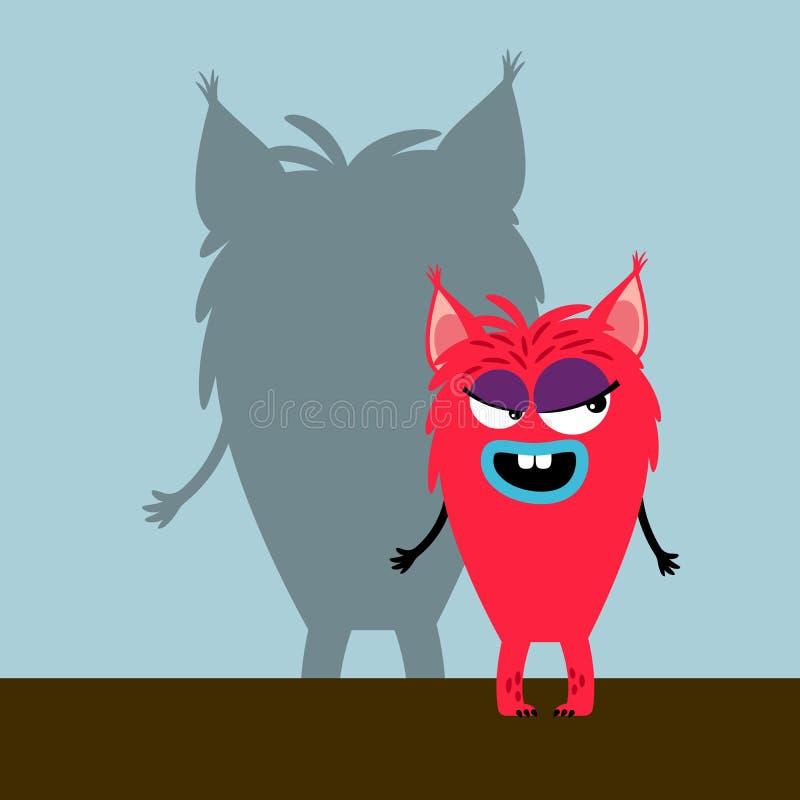 Pink cute girl monster stock illustration