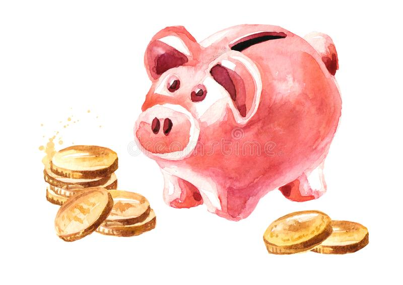 Pink cute pig money box. Piggy bank with coins. Watercolor hand drawn illustration, isolated on white background royalty free illustration